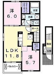 徳島県徳島市北沖洲1丁目の賃貸アパートの間取り