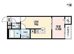 愛知県名古屋市中村区京田町1の賃貸アパートの間取り