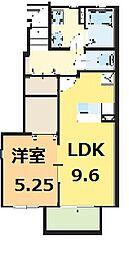 徳島県小松島市芝生町字狭間の賃貸アパートの間取り