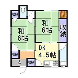 兵庫県加古川市平岡町一色の賃貸アパートの間取り