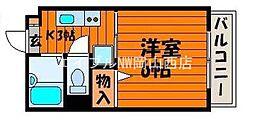 岡山県岡山市北区津高の賃貸マンションの間取り