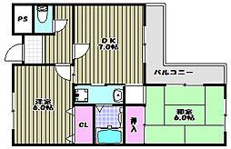 コスモスハイツ[3階]の間取り