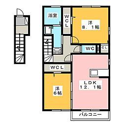 コンフィアンスーフェール[2階]の間取り