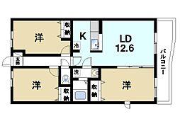 奈良県奈良市三碓5丁目の賃貸アパートの間取り