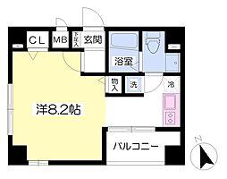 東京メトロ有楽町線 新富町駅 徒歩3分の賃貸マンション 8階ワンルームの間取り