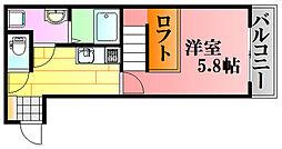 JR芸備線 戸坂駅 徒歩11分の賃貸アパート 1階1Kの間取り