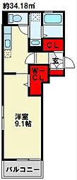 エルカーサ門司駅前 2階1Kの間取り