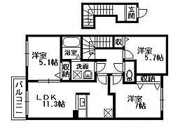 Casa di otto 富木[2階]の間取り
