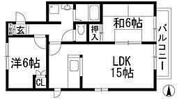 兵庫県川西市新田3丁目の賃貸マンションの間取り