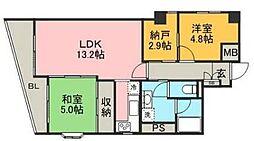 ロワールマンションアール板付[5階]の間取り