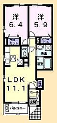 JR外房線 大網駅 バス6分 みどりが丘入口下車 徒歩3分の賃貸アパート 1階2LDKの間取り