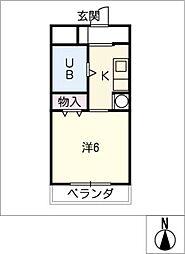 リバーサイド[3階]の間取り