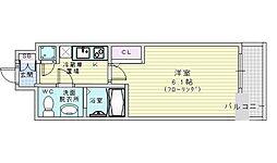 アドバンス西梅田ラシュレ 12階1Kの間取り