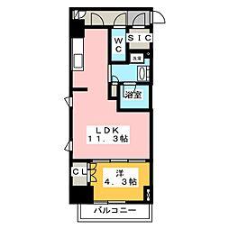 プラウドフラット菊川 2階1LDKの間取り
