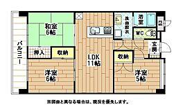 福岡県北九州市小倉南区田原新町3丁目の賃貸マンションの間取り