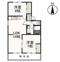 JR山陽本線 高島駅 徒歩13分の賃貸アパート 1階2LDKの間取り