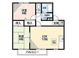 福岡県北九州市八幡西区大字本城の賃貸アパートの間取り