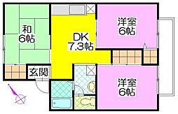茨城県守谷市けやき台6丁目の賃貸アパートの間取り