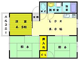 コ−ポハッピ−[2階]の間取り