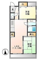愛知県名古屋市守山区小幡5丁目の賃貸マンションの間取り