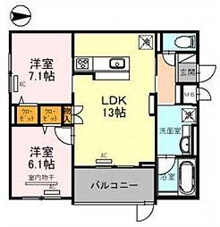Osaka Metro御堂筋線 江坂駅 徒歩5分の賃貸マンション 3階2LDKの間取り