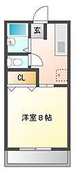 栃木県宇都宮市鐺山町の賃貸アパートの間取り