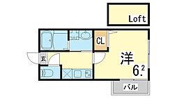 神戸市西神・山手線 上沢駅 徒歩7分の賃貸アパート 1階1Kの間取り