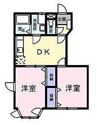 オークビュウ B[2階]の間取り