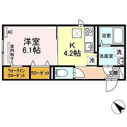 JR吉備線 大安寺駅 徒歩15分の賃貸アパート 2階1Kの間取り
