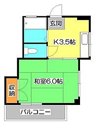 パールハイツ[3階]の間取り