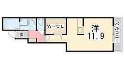 兵庫県姫路市辻井2丁目の賃貸アパートの間取り