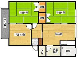 共立松ヶ丘アパート[102号室]の間取り