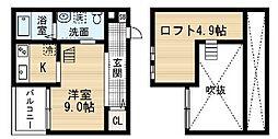 愛知県名古屋市中村区塩池町3丁目の賃貸アパートの間取り