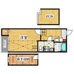 福岡県福岡市南区平和2丁目の賃貸アパートの間取り
