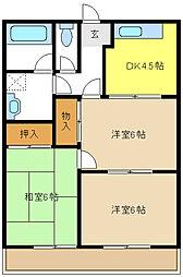 愛知県名古屋市緑区平手南1の賃貸マンションの間取り
