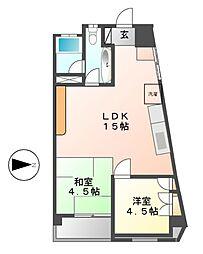 0255.シンワハイツ[3階]の間取り