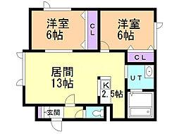 HanaMizuki〜ハナミズキ〜 2階2LDKの間取り