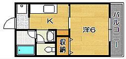 美沢コーポ[1階]の間取り