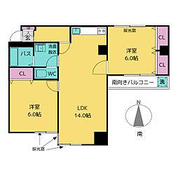 第7スカイパレス[2階]の間取り
