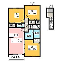 K.NコンプレーションIV[2階]の間取り