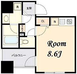 東京メトロ日比谷線 茅場町駅 徒歩5分の賃貸マンション 2階ワンルームの間取り