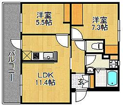 浅川団地200棟[302号室]の間取り