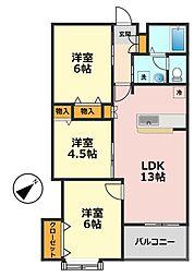 東京都葛飾区細田1丁目の賃貸アパートの間取り