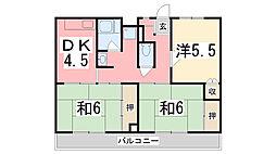 兵庫県加古川市尾上町池田の賃貸マンションの間取り