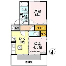 広島県東広島市西条中央2丁目の賃貸アパートの間取り