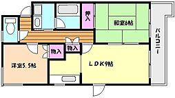 兵庫県神戸市東灘区御影山手2丁目の賃貸マンションの間取り