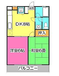 ビューハイムFUJI(ビューハイムフジ)[2階]の間取り