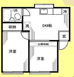 神奈川県横浜市中区本牧元町の賃貸アパートの間取り