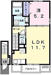 カプリC 2階1LDKの間取り