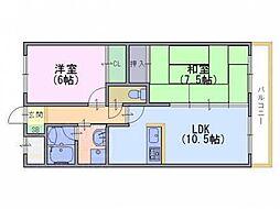 京都府京都市南区久世殿城町の賃貸マンションの間取り